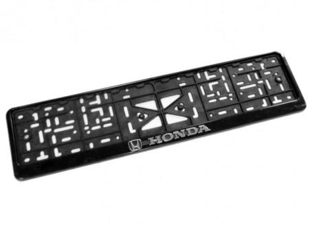 Рамка для номера с логотипом Honda (с нижней защелкой, черная)